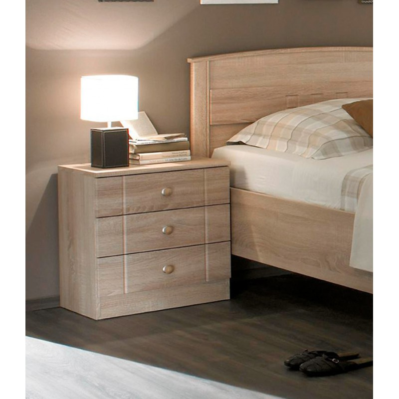 nachttisch mit 3 schubladen eiche sonoma dekor. Black Bedroom Furniture Sets. Home Design Ideas
