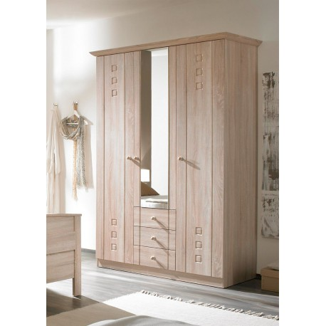 kleiderschrank 3 t rig mit spiegel und schubladen eiche sonoma dekor. Black Bedroom Furniture Sets. Home Design Ideas