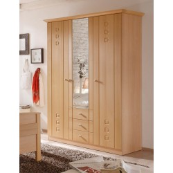 Kleiderschrank 3-türig mit Spiegel Buche Dekor