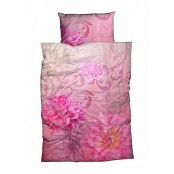Mako Satin Bettwäsche Violetta Pfingstrosen pink 155x220