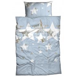 Renforcé Bettwäsche Stellaris Sterne mit Holzoptik bleu 135x200