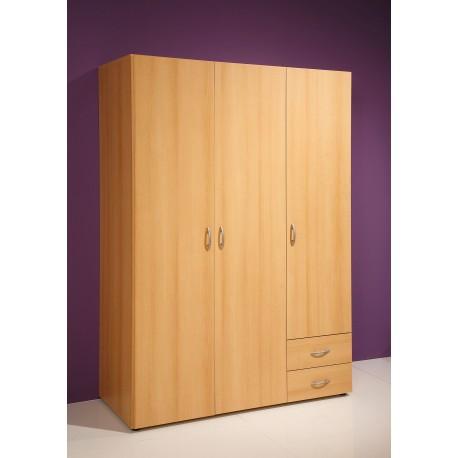 Kleiderschrank mit 3 Türen Buche Dekor