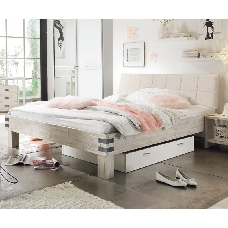 hasena factory line akazie bett vintage white kopfteil malta 200x200. Black Bedroom Furniture Sets. Home Design Ideas