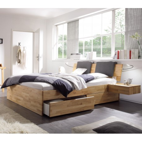 hasena function komfort bett mit bettkasten und schubladen kernbuche. Black Bedroom Furniture Sets. Home Design Ideas