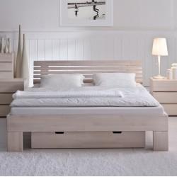 HASENA Bettgestell Wood Line Buche weiß Kopfteil Litto 160x220
