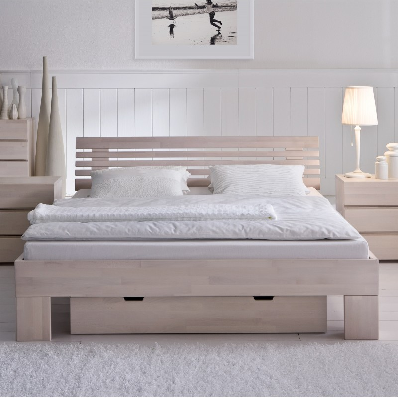 Hasena Wood Line Bett Kopfteil Litto Fusse Massa Buche Weiss 200x220 Cm