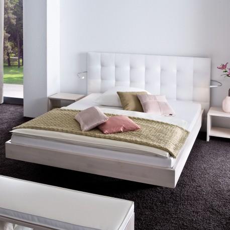 Bett weiß 160x200  Hasena Wood Line Bettgestell Buche weiß mit Wandpaneel 160x200 cm
