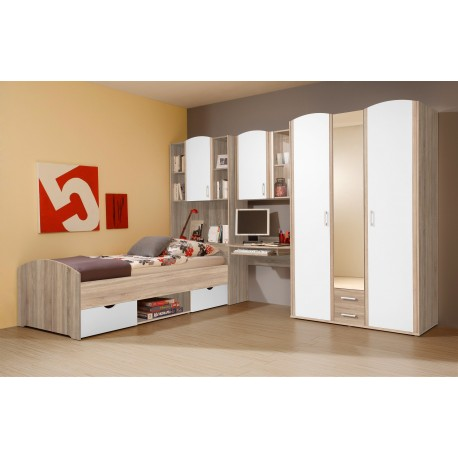 kinderzimmer und jugendzimmer mit kleiderschrank und bett. Black Bedroom Furniture Sets. Home Design Ideas