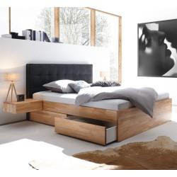 HASENA Bett Elito mit 4 Bettkästen Kernbuche Kopfteil carbon 140x200