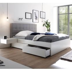 HASENA Bett Elito mit 4 Bettkästen Buche weiß deckend Kopfteil grigio 140x200