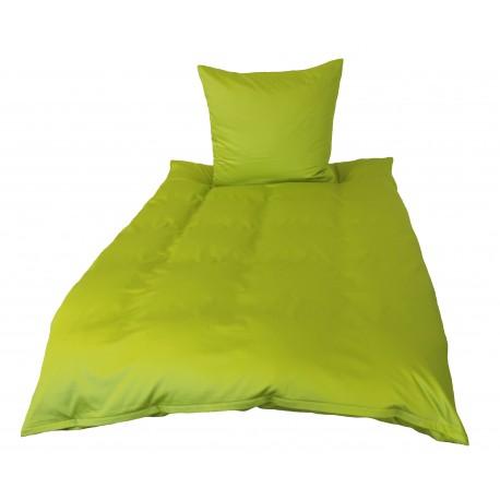 Mako Satin Baumwoll Bettwäsche Einfarbig Apfelgrün 135x200 Cm