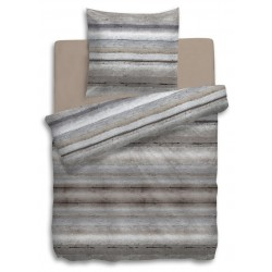 Feinbiber Bettwäsche North Streifen grau braun 135x200