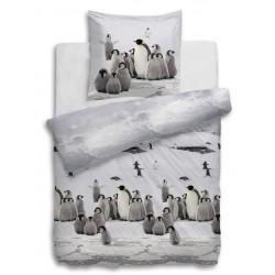 Feinbiber Bettwäsche Snow Pinguine und Pinguinbabys 135x200