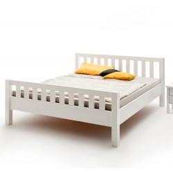 Bett Massivholz Buche weiß lackiert mit Kopf- und Fußteil 100x200