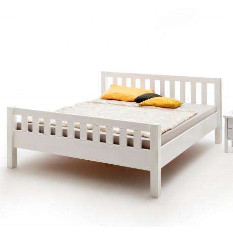 Doppelbett weiß  Doppelbett weiß lackiert Buche Massivholz Kopf-und Fußteil 180x200 cm