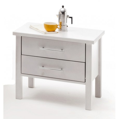 Nachttisch Massivholz Buche weiß lackiert