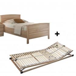 SET Lattenrost verstellbar &  Komfortbett Seniorenbett Eiche Sonoma 100x200