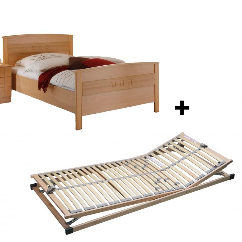 Spar Set Seniorenbett Buche Dekor mit verstellbarem Lattenrost 100x200