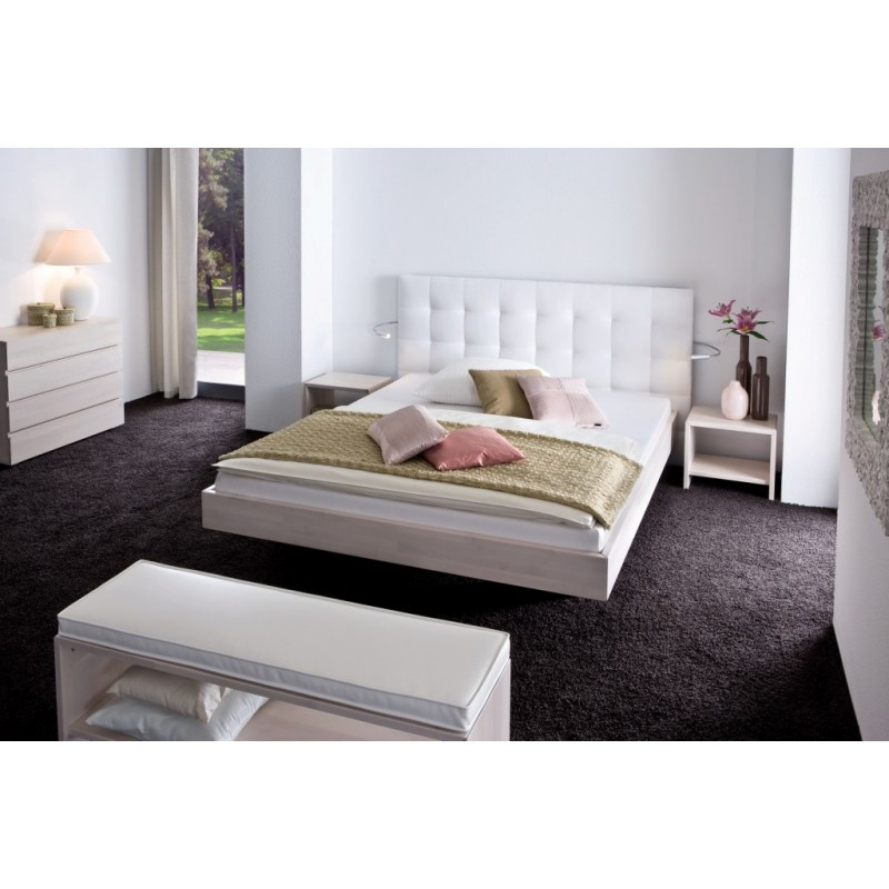 hasena wood line bett buche wei massiv 180x200 mit paneel. Black Bedroom Furniture Sets. Home Design Ideas