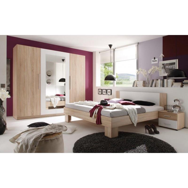 schlafzimmer eiche sonoma dekor mit spiegelschrank und nachttischen. Black Bedroom Furniture Sets. Home Design Ideas