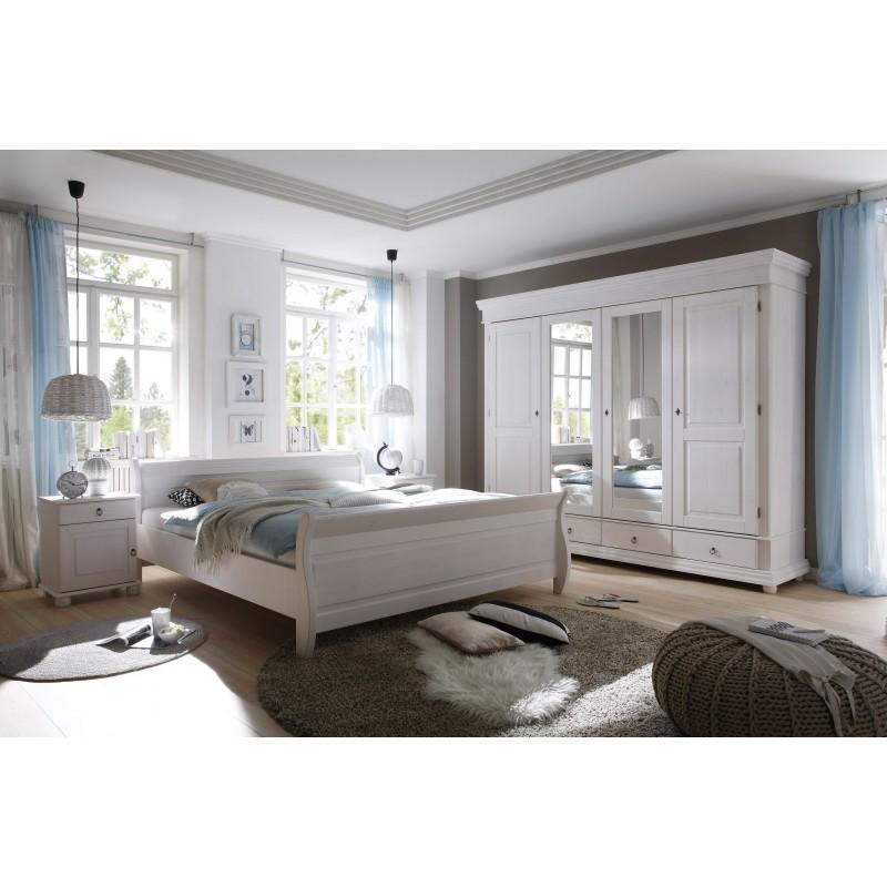 Schlafzimmer Kiefer weiß gewachst Landhausstil mit Bett 180x200 cm