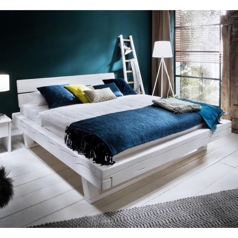 Massivholz Balkenbett Elli Fichte weiß lackiert 200x200 cm