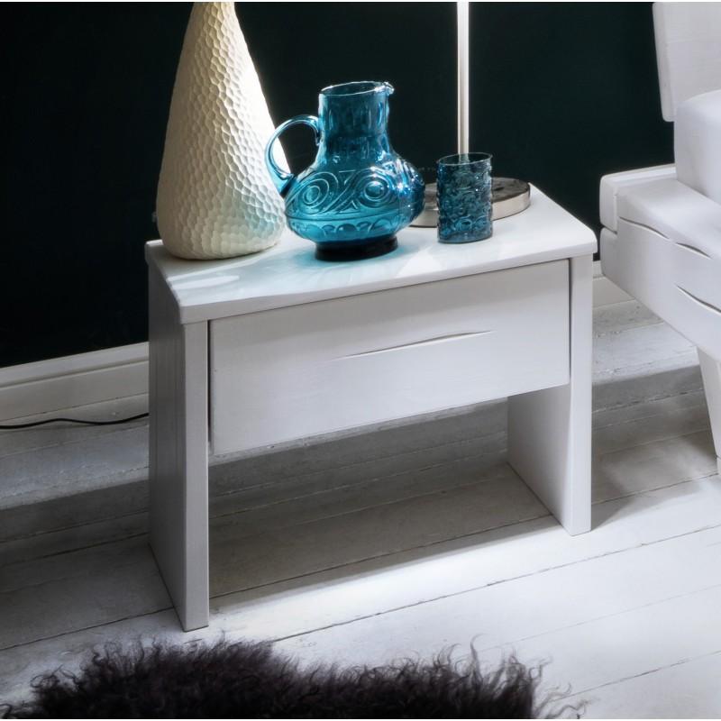 nachttisch elli fichte massiv wei lackiert mit schublade. Black Bedroom Furniture Sets. Home Design Ideas