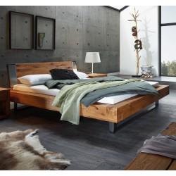 HASENA Oak Wild Bett Aosta 16 Kufen Indus iron Kopfteil Sion mit Deko Capa iron 140x200 cm