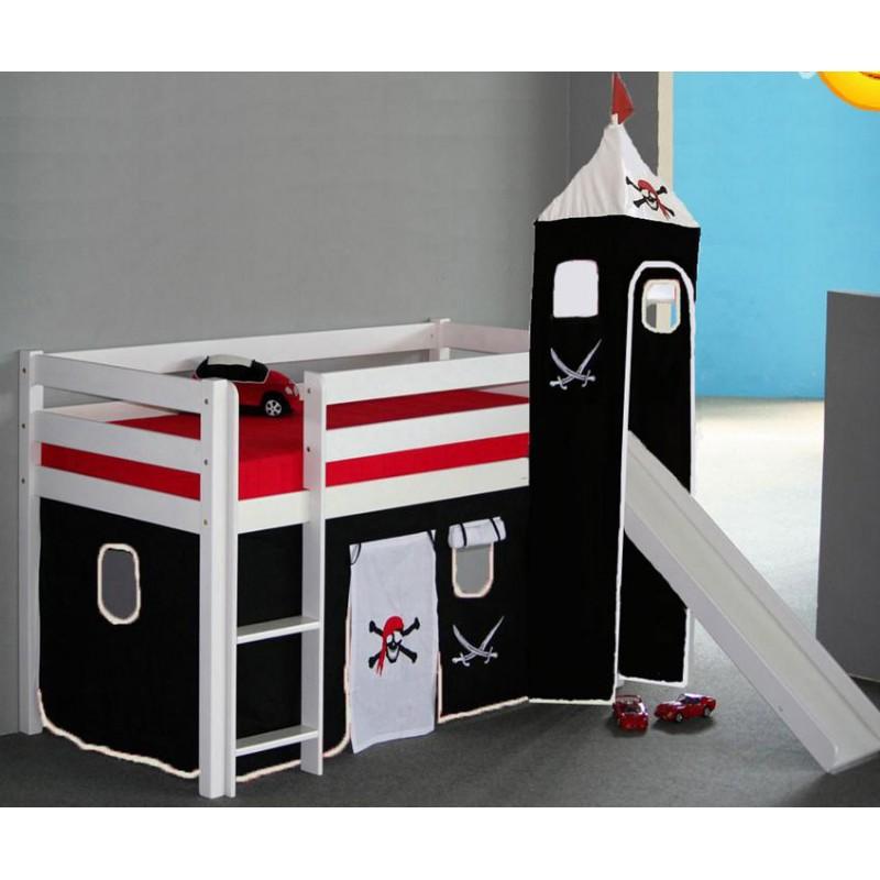 Kinderhochbett weiß mit rutsche  Hochbett und Etagenbett Pirat mit Rutsche Buche weiß 90x200 cm