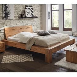 HASENA Rustikales Massivholzbett Bormio 18 aus Wildeiche Füße Cobo 20 cm und Kopfteil Areba 160x200 cm