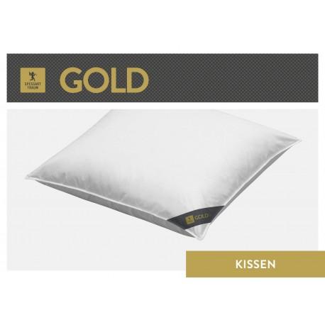 Spessarttraum Gold 3-Kammer-Kopfkissen 80x80 Gänsedaunen und -federn